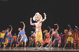 "Jelani Remy as ""Simba"" is pictured with the cast ensemble as they perform ""He Lives in You"" from ""The Lion King"" National Tour. (c)Disney. (Photo: Joan Marcus)"